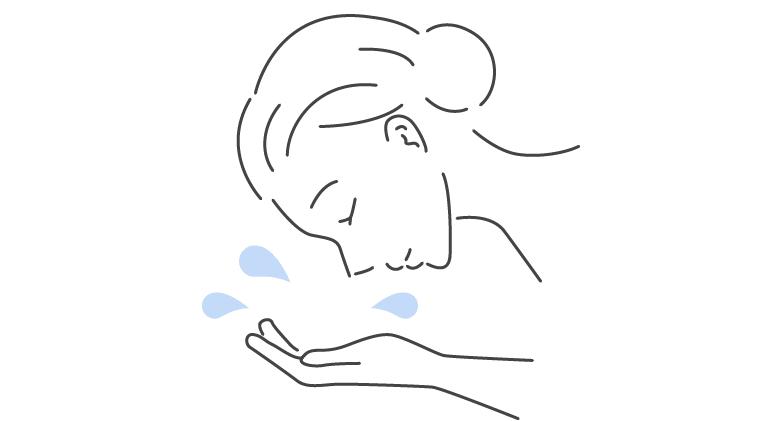 3.汚れが浮いてきたら、水またはぬるま湯で洗い流してください。